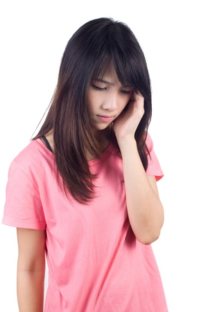 Young woman looking depressed with closed eyes photo