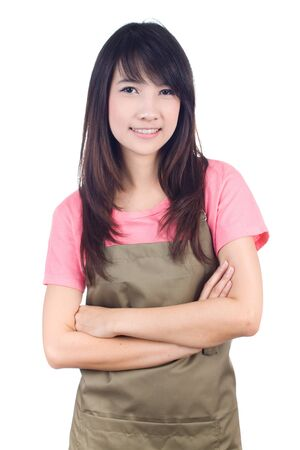 teflon: Young asian woman housewife on white background Stock Photo