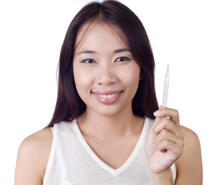 Young ill woman with thermometer on  white isolated Stock Photo - 17668055