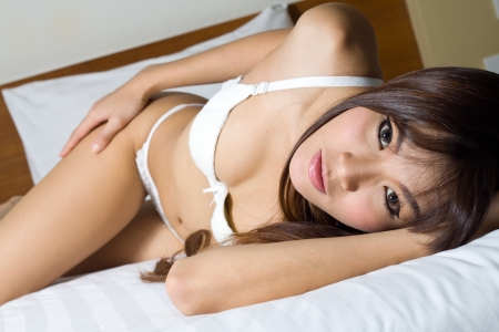Sexy asian  woman in lingerie