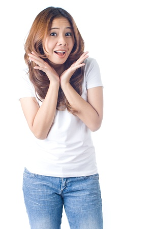 Beautiful asian brunette girl in jeans look surprising on white background photo