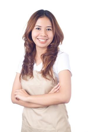 casalinga: Bella donna bionda casalinga su sfondo bianco