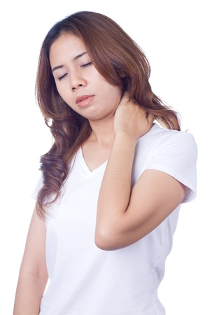 Woman with pain in her neck Isolated on white background Stock Photo - 18064522