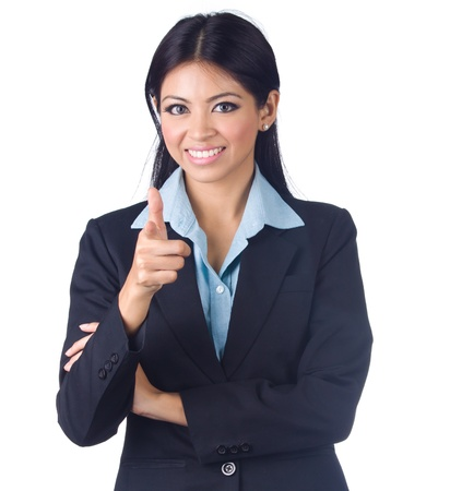 Young business woman on white background Stock Photo