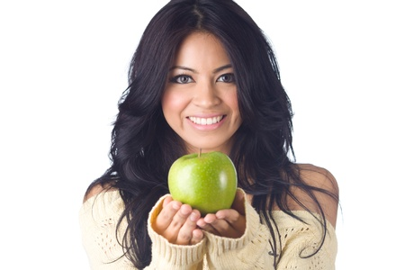 Young woman holding green apple  on  white background photo