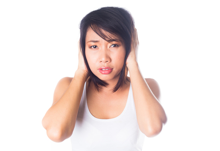 appalled: Appalled woman with a terrified expression on white background