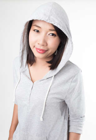 Young woman in hood photo