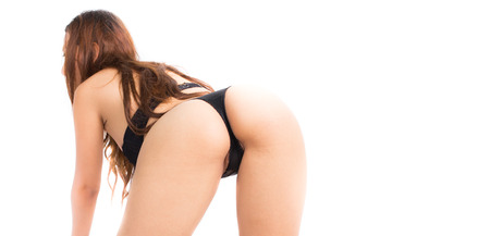 Sexy woman ass with black thong lingerie