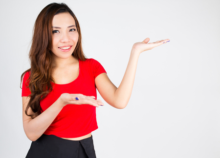 woman showing open hand palm with copy space photo