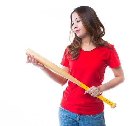 Young beautiful girl with baseball bat, isolated on white background photo