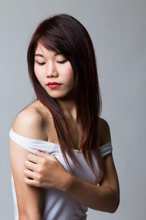 sexy asian girl: Beautiful sexy asian girl wearing white shirt