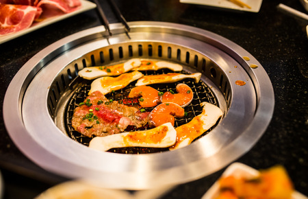 coal fish: Traditional japanese food, Shabu or Suki, Grilled meat by charcoal on grate.