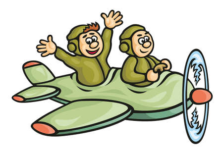 aeroplane cartoon: airplane pilot fly Character humor illustrations  drawing  Stock Photo