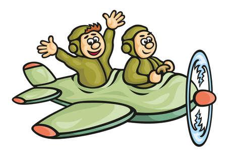 Plane Pilot: avi�n experimentales moscas car�cter humor ilustraciones de dibujo