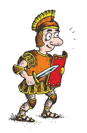 Caricatura de humor de carácter histórico de legionarios caricatura romano  Foto de archivo - 8663677
