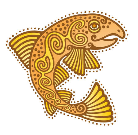 celtic salmon fish stylized ancient ethnic tattoo photo