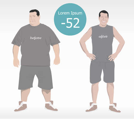 cartoon characters, different stages, fat problems, strong sport and fat people, fast food problem, vector illustration