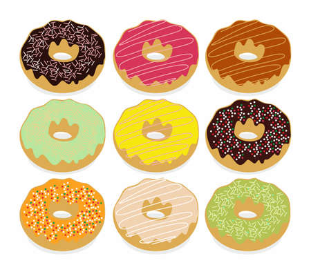 Set of sweet donuts on the white background. Vector food illustration Illustration