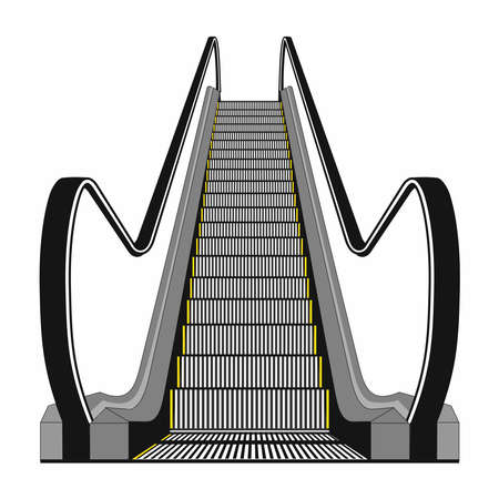 Escalator isolated on white background. Modern architecture stair, lift and elevator, vector illustration Vectores