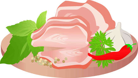 Meat on wooden plate. Isolated food on white background. Pork meat.