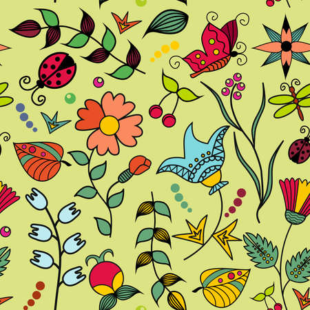 endless: Seamless texture with flowers and butterflies. Endless floral pattern. Illustration