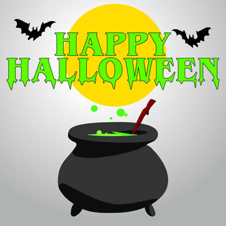 Cartoon Halloween witchs cauldron with green bubbling brew in it Illustration
