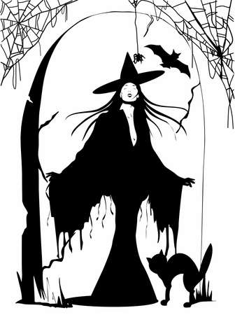 silhouette of beautiful witch with hat