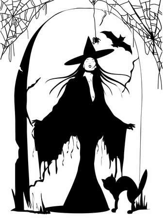 Silueta de la hermosa bruja con el sombrero