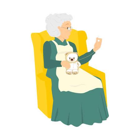 La mujer mayor cose. Granny cose un juguete en su silla. ilustración vectorial