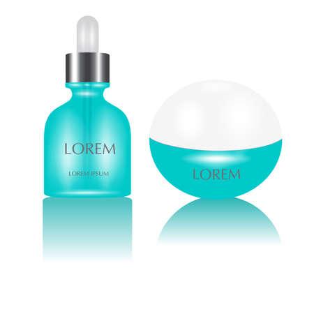 Envases de productos cosméticos aislados en blanco. El paquete de crema de belleza botella de diseño vectorial Foto de archivo - 65221488