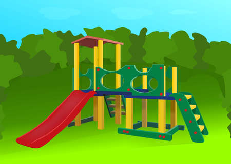 a childrens Playground on a summer meadow. vector illustration Illustration
