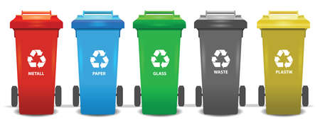 Colorful recycle trash bins isolated white, vector set. Big containers for recycling waste sorting - plastic, glass, metal, paper