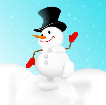 mitten: Christmas snowman vector illustration Illustration