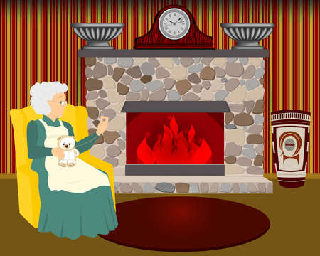 grandmother sews by the fireplace. Granny sews a toy in her chair. Home interior with fireplace. Vector illustration.