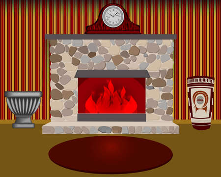 fireplace home: Home interior with fireplace. Vector illustration.