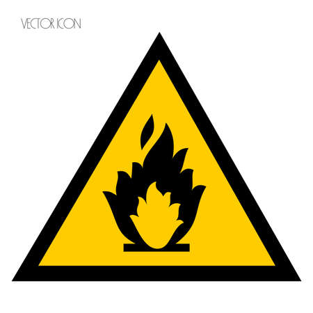 Fire warning sign on white Illustration