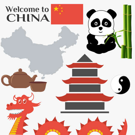 China travel vector illustration