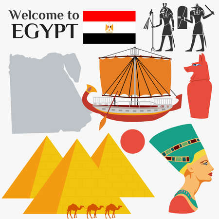 Egypt Flat Icons Design Travel Concept  イラスト・ベクター素材