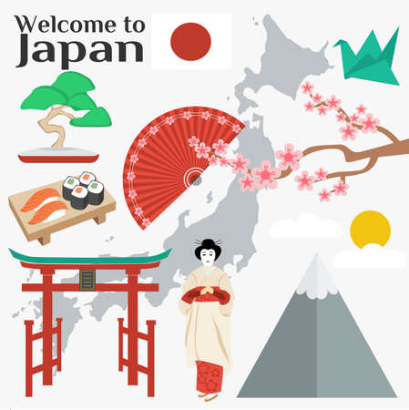 Colorful Japan travel poster -Welcome to Japan. Vector illustration with travel place and landmark