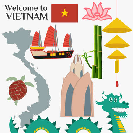 Travel to Vietnam. Set of traditional Vietnamese cultural symbols. Vietnamese landmarks and lifestyle of Vietnamese people.