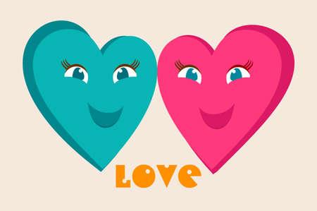 사랑에 몇입니다. 두 행복 한 마음입니다. 해피 발렌타인 카드입니다.