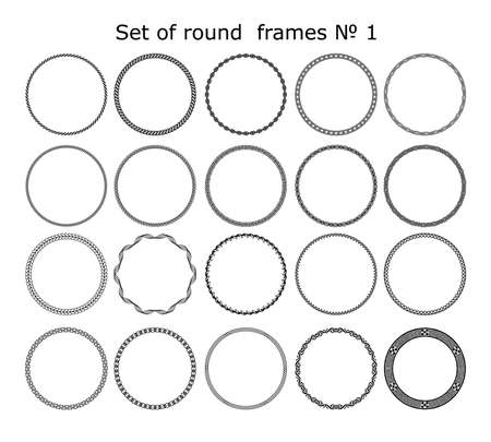 set of  round frames in different styles for design frameworks and banners  イラスト・ベクター素材