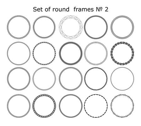 set of vector round frames in different styles for design frameworks and banners