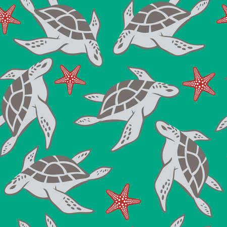 seamless pattern with turtles and starfish