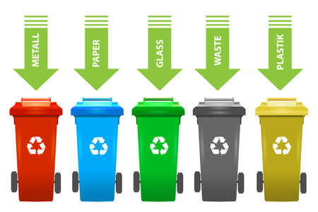 Colorful recycle trash bins isolated white, vector set. Big containers for recycling waste sorting - plastic, glass, metal, paper.