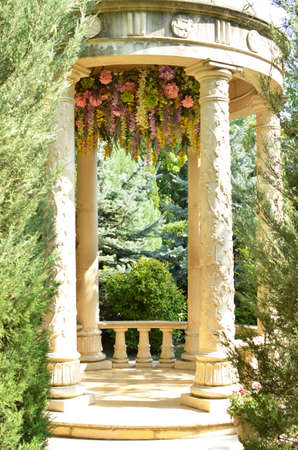 vintage gazebo in flowers, fresco 写真素材