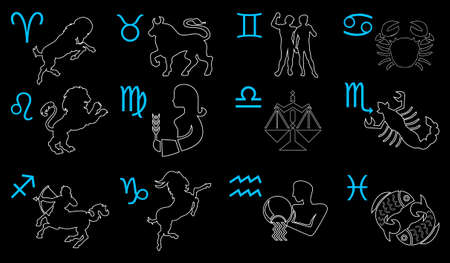 Vector graphic illustration of zodiac signs.  Aries; Taurus; Gemini; Cancer; Leo; Virgo; Libra; Scorpio; Sagittarius; Capricorn; Aquarius and Pisces.