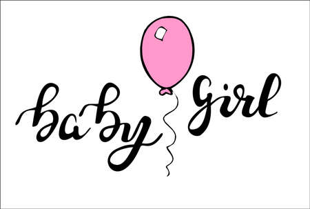 baby announcement card: Phrase baby girl hand  written lettering Illustration