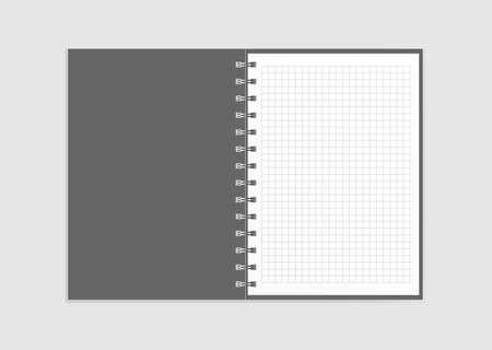 Plantilla para publicidad, marca e identidad corporativa. Libreta de espiral realista. Maqueta en blanco para el diseño. Cuaderno de cartón abierto. Foto de archivo - 87106610