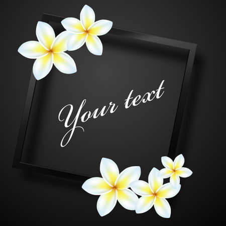 Frame card with flowers  on a black background. Vector illustration.